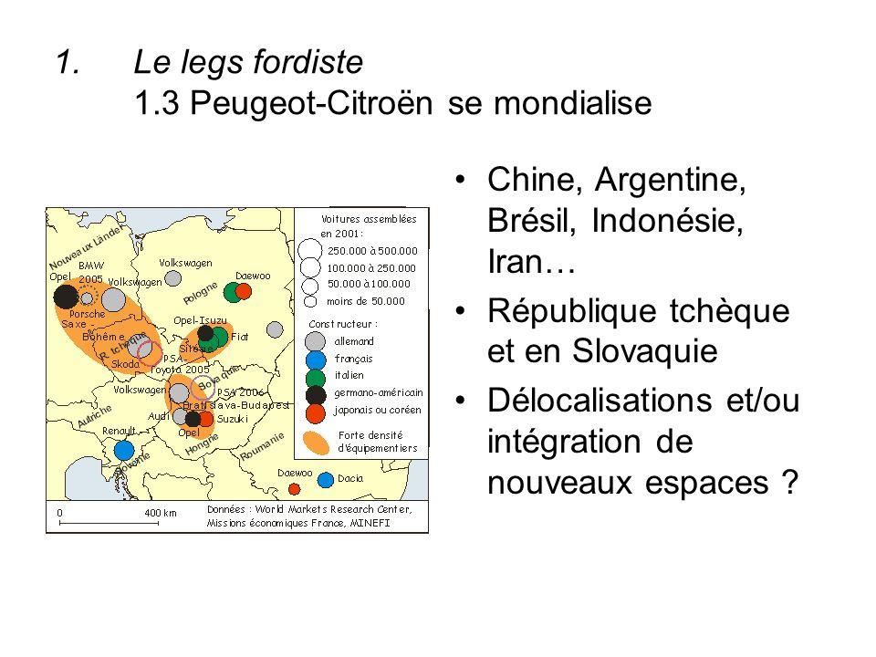 1.Le legs fordiste 1.3 Peugeot-Citroën se mondialise Chine, Argentine, Brésil, Indonésie, Iran… République tchèque et en Slovaquie Délocalisations et/