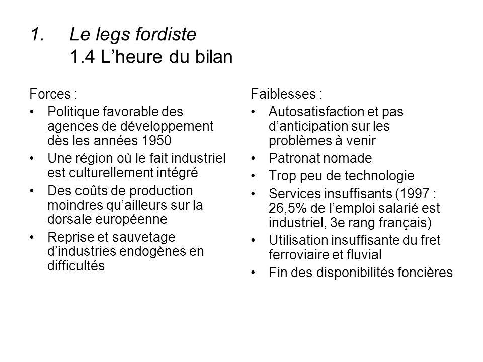 1.Le legs fordiste 1.4 Lheure du bilan Forces : Politique favorable des agences de développement dès les années 1950 Une région où le fait industriel