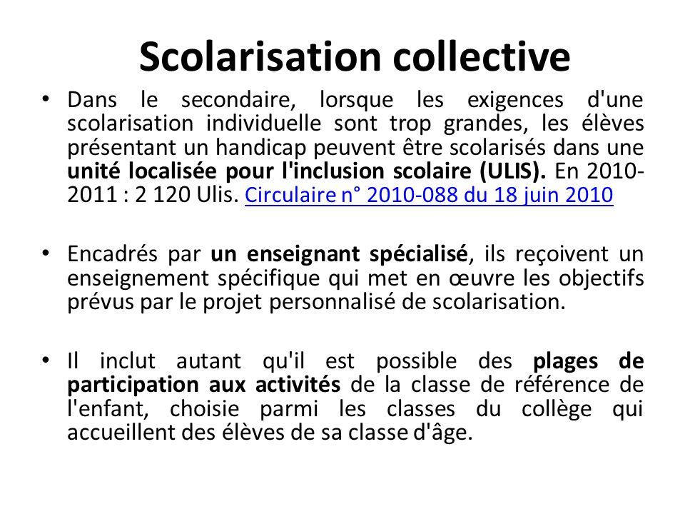 Scolarisation collective Dans le secondaire, lorsque les exigences d'une scolarisation individuelle sont trop grandes, les élèves présentant un handic