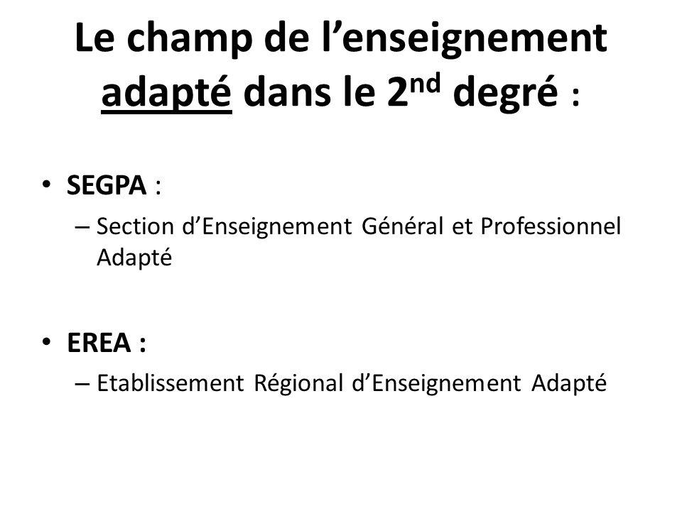 Le champ de lenseignement adapté dans le 2 nd degré : SEGPA : – Section dEnseignement Général et Professionnel Adapté EREA : – Etablissement Régional