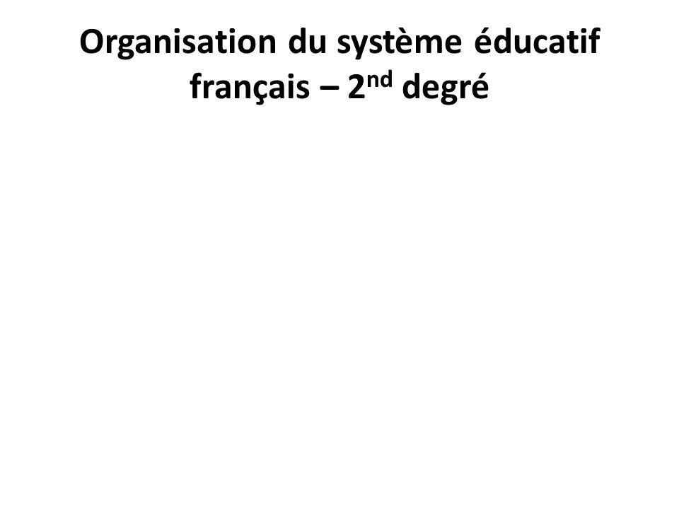 Organisation du système éducatif français – 2 nd degré