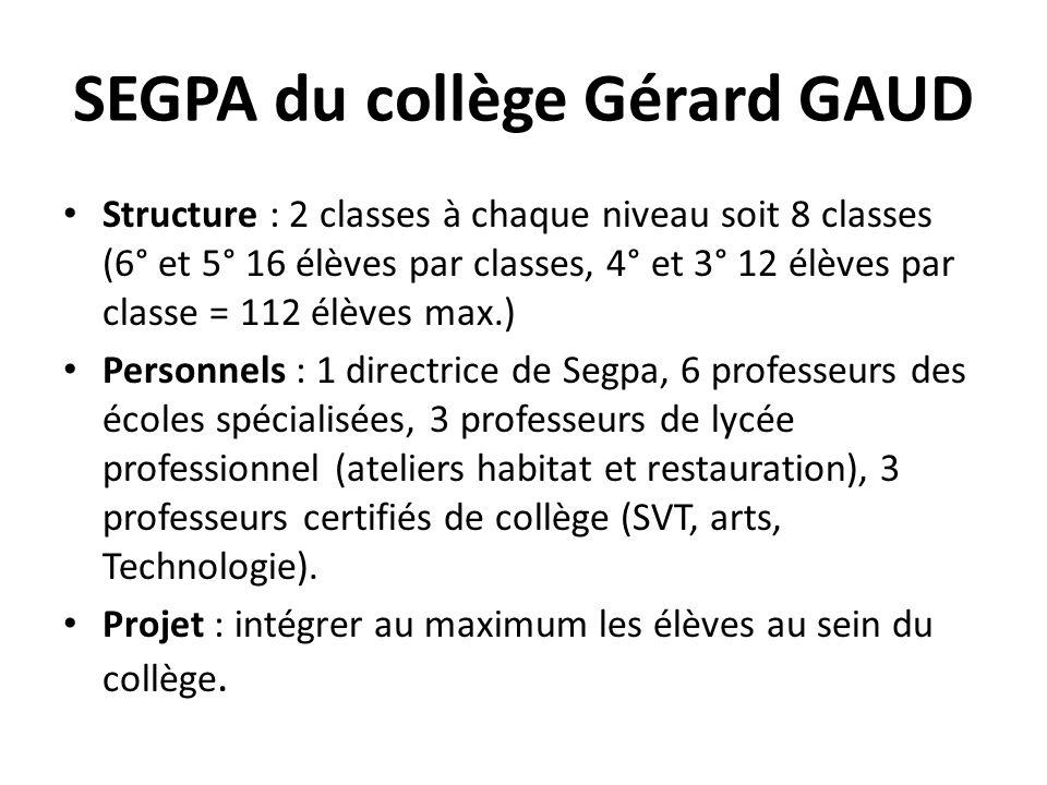 SEGPA du collège Gérard GAUD Structure : 2 classes à chaque niveau soit 8 classes (6° et 5° 16 élèves par classes, 4° et 3° 12 élèves par classe = 112