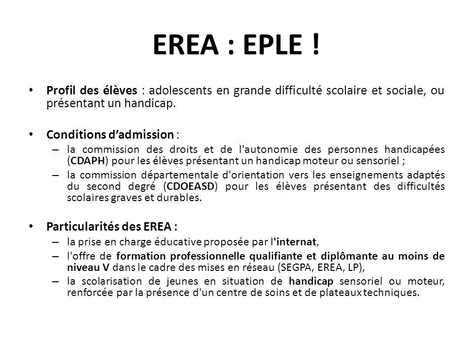 EREA : EPLE ! Profil des élèves : adolescents en grande difficulté scolaire et sociale, ou présentant un handicap. Conditions dadmission : – la commis
