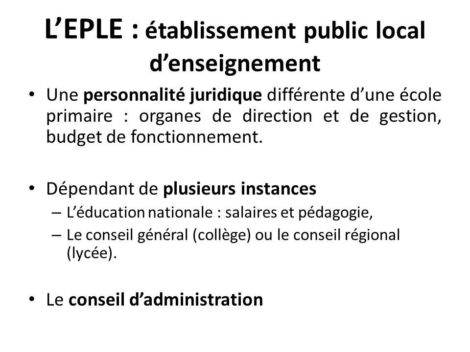 LEPLE : établissement public local denseignement Une personnalité juridique différente dune école primaire : organes de direction et de gestion, budge