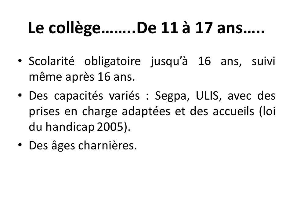 Le collège……..De 11 à 17 ans….. Scolarité obligatoire jusquà 16 ans, suivi même après 16 ans. Des capacités variés : Segpa, ULIS, avec des prises en c