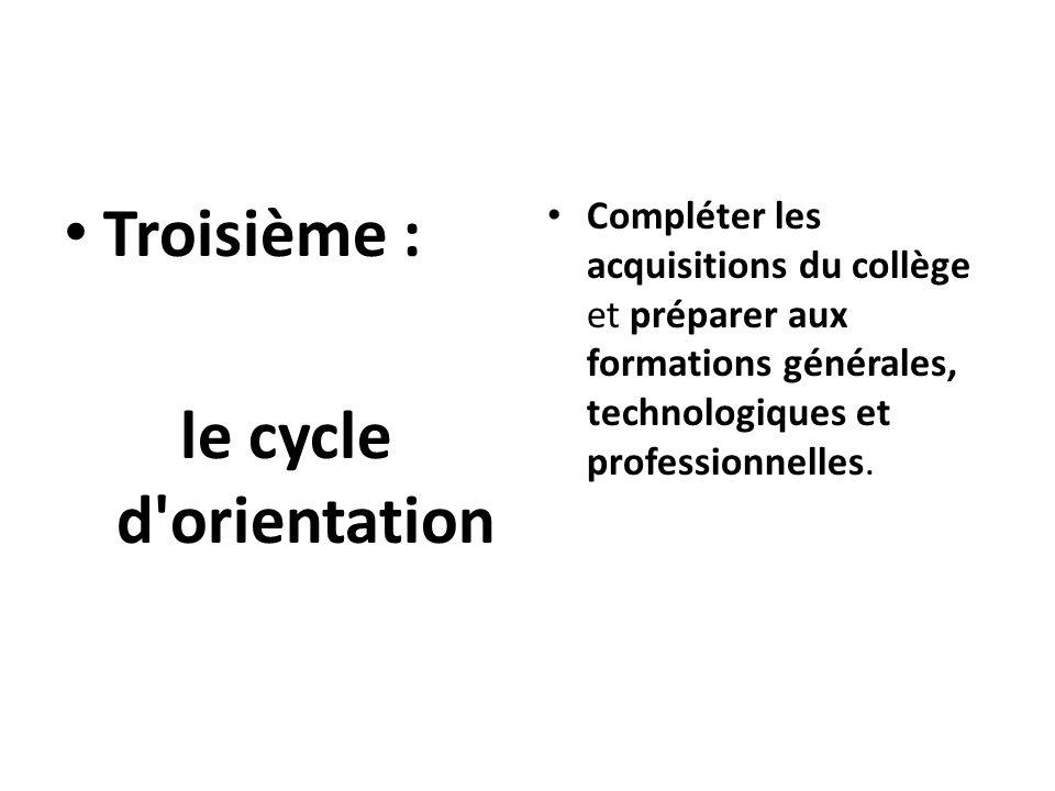 Troisième : le cycle d'orientation Compléter les acquisitions du collège et préparer aux formations générales, technologiques et professionnelles.