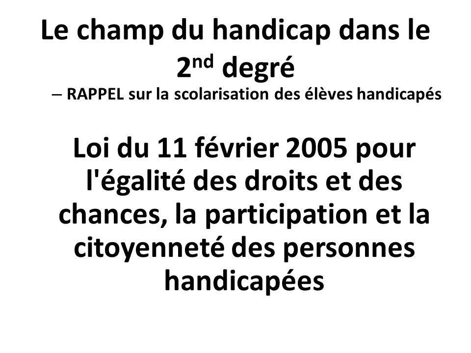 Le champ du handicap dans le 2 nd degré – RAPPEL sur la scolarisation des élèves handicapés Loi du 11 février 2005 pour l'égalité des droits et des ch