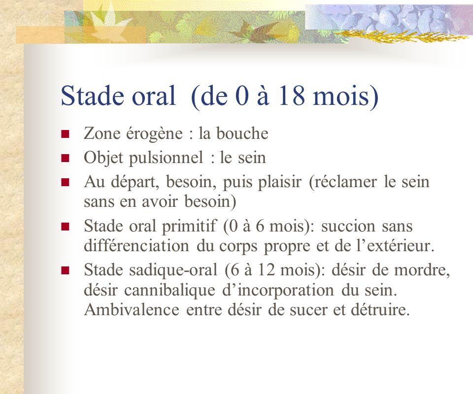 Stade oral (de 0 à 18 mois) Zone érogène : la bouche Objet pulsionnel : le sein Au départ, besoin, puis plaisir (réclamer le sein sans en avoir besoin