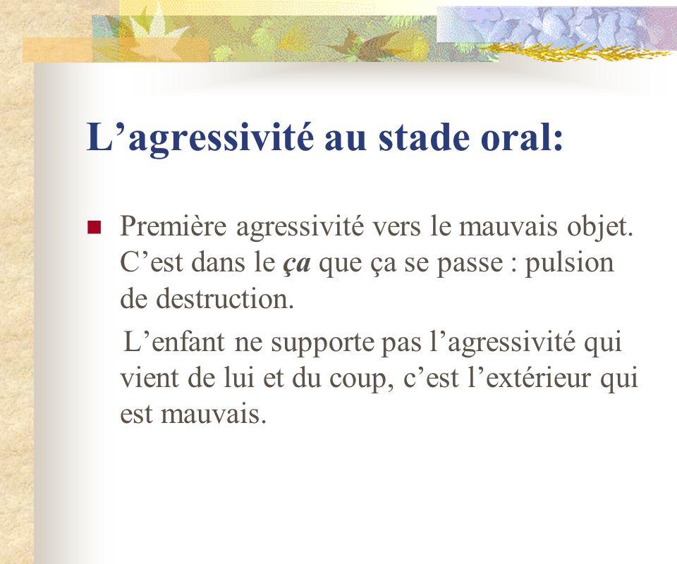 Lagressivité au stade oral: Première agressivité vers le mauvais objet. Cest dans le ça que ça se passe : pulsion de destruction. Lenfant ne supporte
