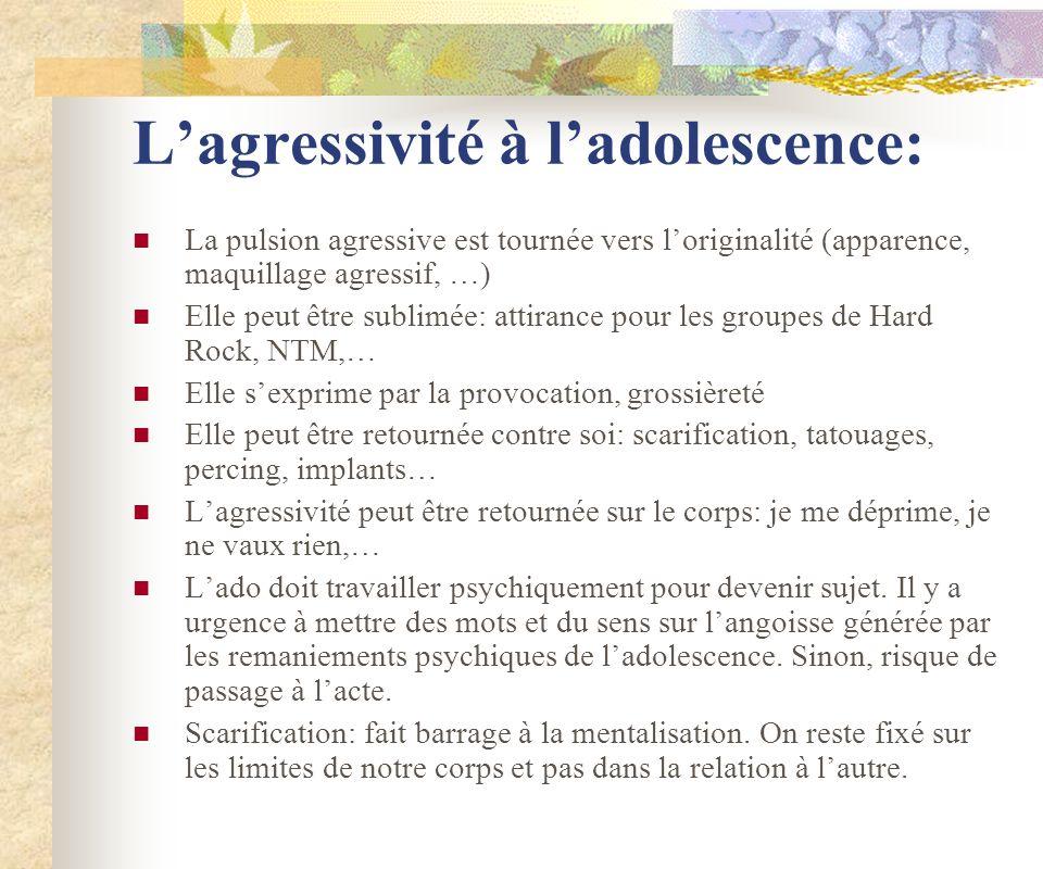 Lagressivité à ladolescence: La pulsion agressive est tournée vers loriginalité (apparence, maquillage agressif, …) Elle peut être sublimée: attirance