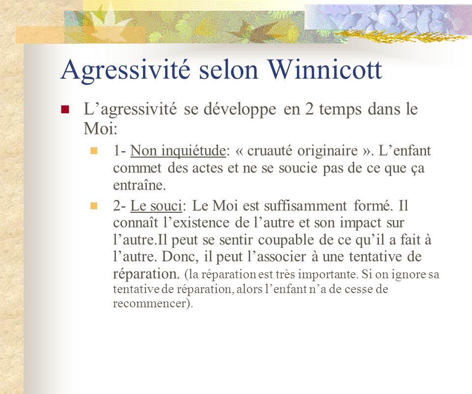 Agressivité selon Winnicott Lagressivité se développe en 2 temps dans le Moi: 1- Non inquiétude: « cruauté originaire ». Lenfant commet des actes et n