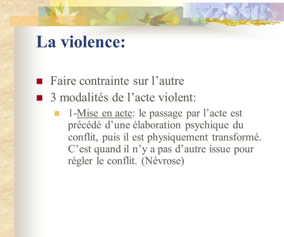 La violence: Faire contrainte sur lautre 3 modalités de lacte violent: 1-Mise en acte: le passage par lacte est précédé dune élaboration psychique du