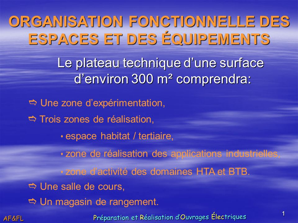 1 ORGANISATION FONCTIONNELLE DES ESPACES ET DES ÉQUIPEMENTS Le plateau technique dune surface denviron 300 m² comprendra: Une zone dexpérimentation, T