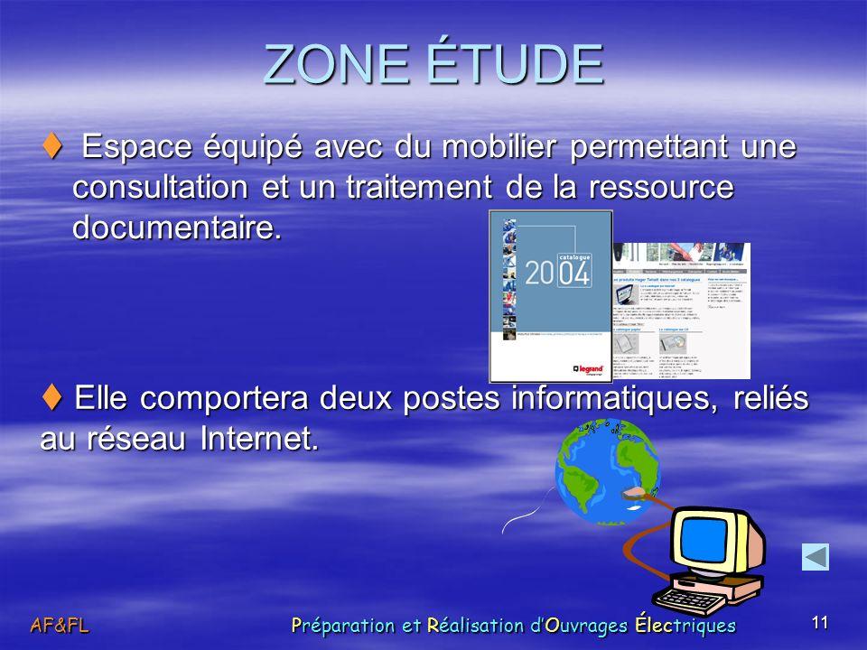 11 ZONE ÉTUDE Espace équipé avec du mobilier permettant une consultation et un traitement de la ressource documentaire. Espace équipé avec du mobilier