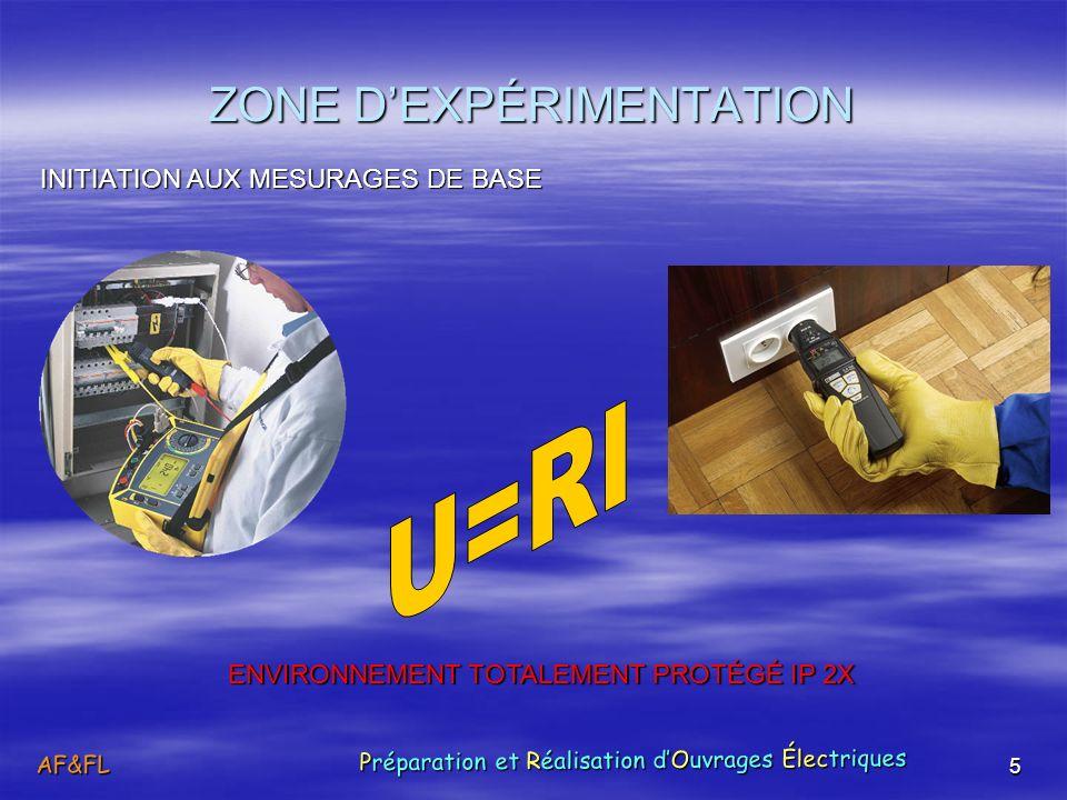 5 ZONE DEXPÉRIMENTATION INITIATION AUX MESURAGES DE BASE ENVIRONNEMENT TOTALEMENT PROTÉGÉ IP 2X AF&FL Préparation et Réalisation dOuvrages Électriques