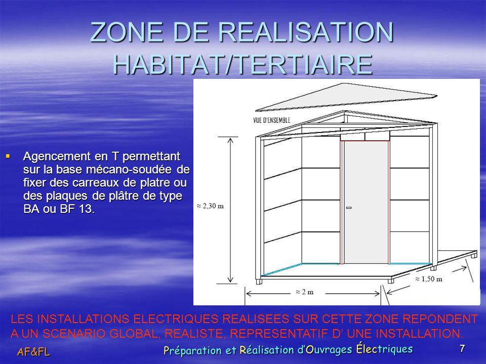 7 ZONE DE REALISATION HABITAT/TERTIAIRE Agencement en T permettant sur la base mécano-soudée de fixer des carreaux de platre ou des plaques de plâtre