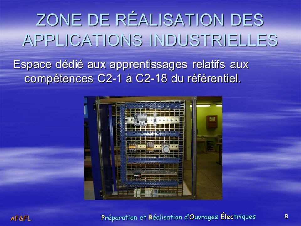 8 ZONE DE RÉALISATION DES APPLICATIONS INDUSTRIELLES Espace dédié aux apprentissages relatifs aux compétences C2-1 à C2-18 du référentiel. AF&FL Prépa