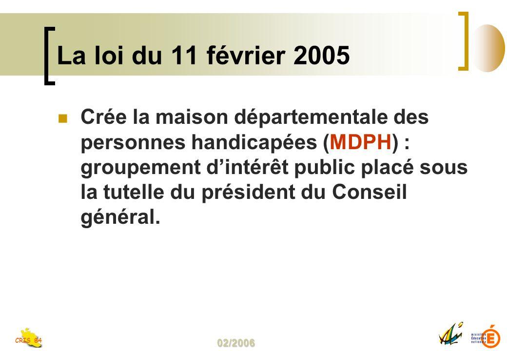 02/2006 CRIS 84 La loi du 11 février 2005 Crée la maison départementale des personnes handicapées (MDPH) : groupement dintérêt public placé sous la tutelle du président du Conseil général.
