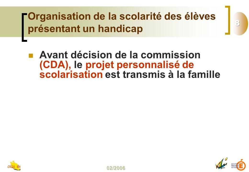 02/2006 CRIS 84 Organisation de la scolarité des élèves présentant un handicap Avant décision de la commission (CDA), le projet personnalisé de scolarisation est transmis à la famille