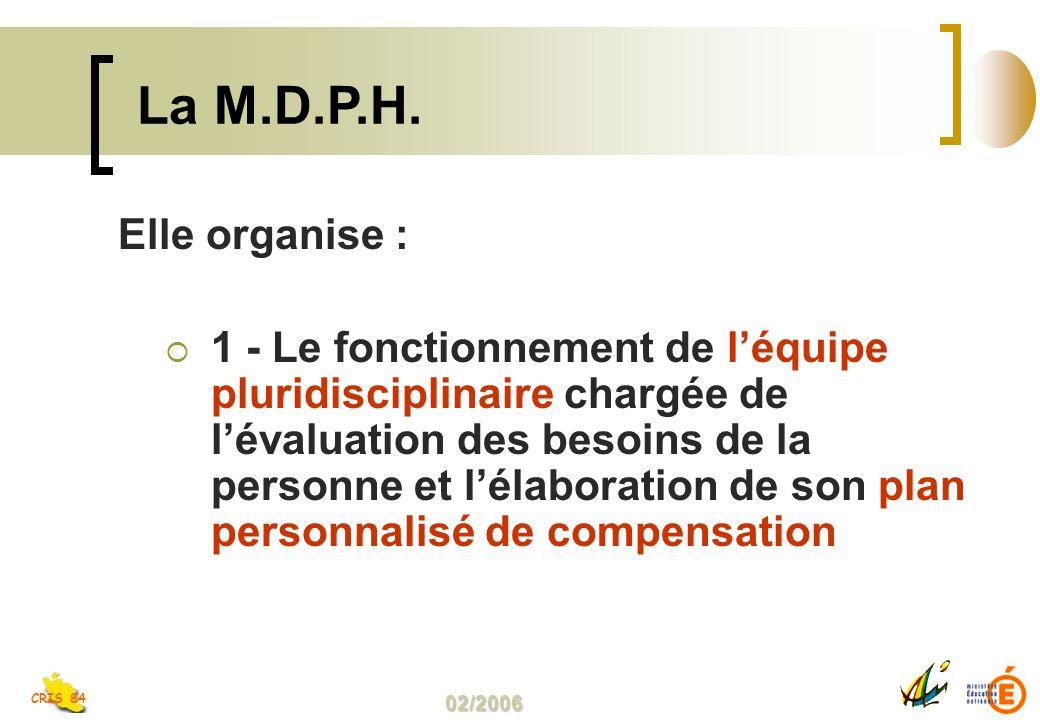 02/2006 CRIS 84 Elle organise : 1 - Le fonctionnement de léquipe pluridisciplinaire chargée de lévaluation des besoins de la personne et lélaboration de son plan personnalisé de compensation La M.D.P.H.