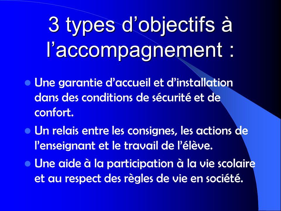 3 types dobjectifs à laccompagnement : Une garantie daccueil et dinstallation dans des conditions de sécurité et de confort. Un relais entre les consi