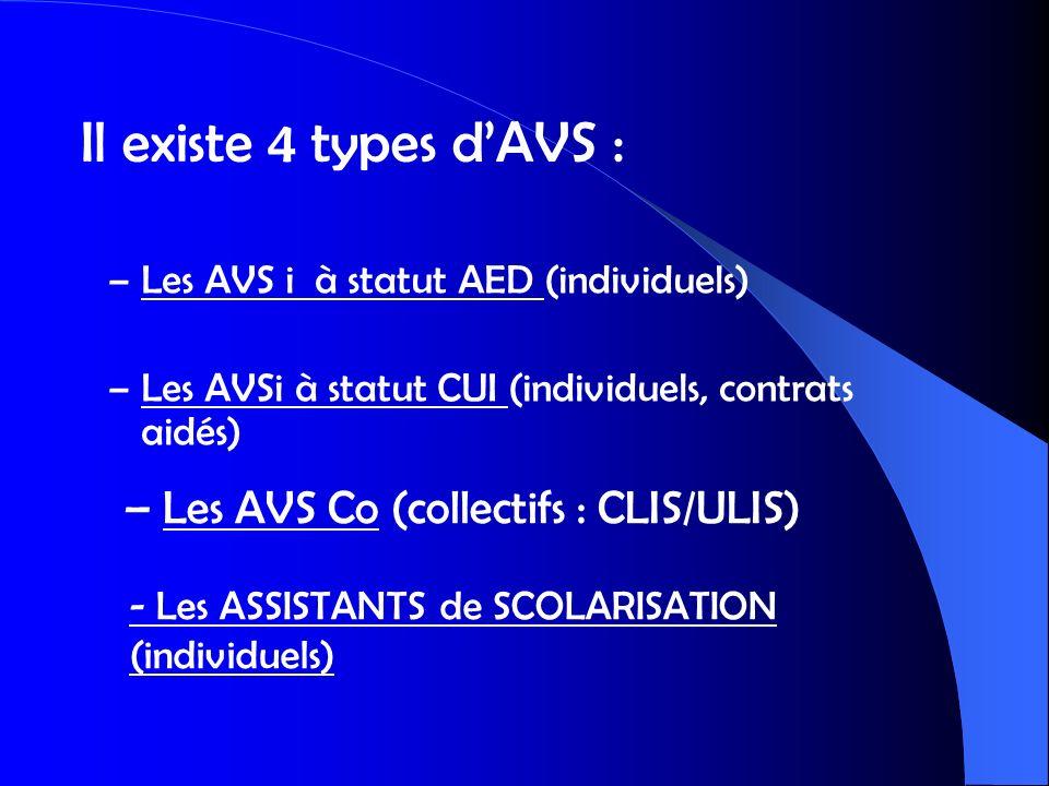 – Les AVS i à statut AED (individuels) – Les AVSi à statut CUI (individuels, contrats aidés) – Les AVS Co (collectifs : CLIS/ULIS) Il existe 4 types d