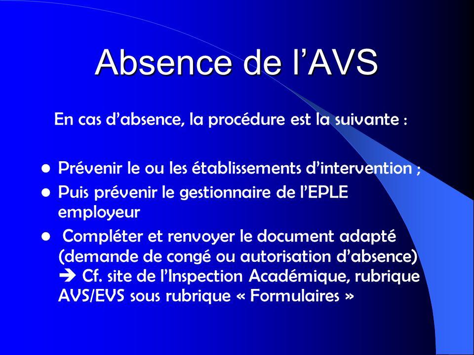Absence de lAVS En cas dabsence, la procédure est la suivante : Prévenir le ou les établissements dintervention ; Puis prévenir le gestionnaire de lEP