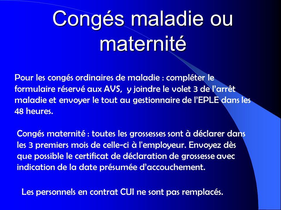 Congés maladie ou maternité Congés maternité : toutes les grossesses sont à déclarer dans les 3 premiers mois de celle-ci à l'employeur. Envoyez dès q