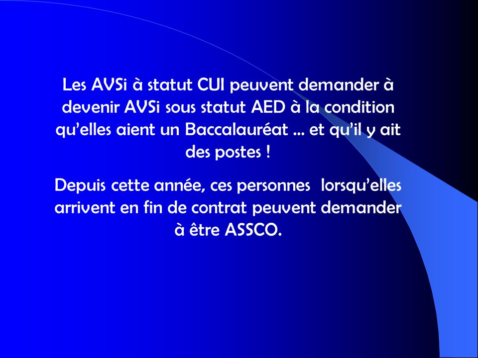 Les AVSi à statut CUI peuvent demander à devenir AVSi sous statut AED à la condition quelles aient un Baccalauréat … et quil y ait des postes ! Depuis