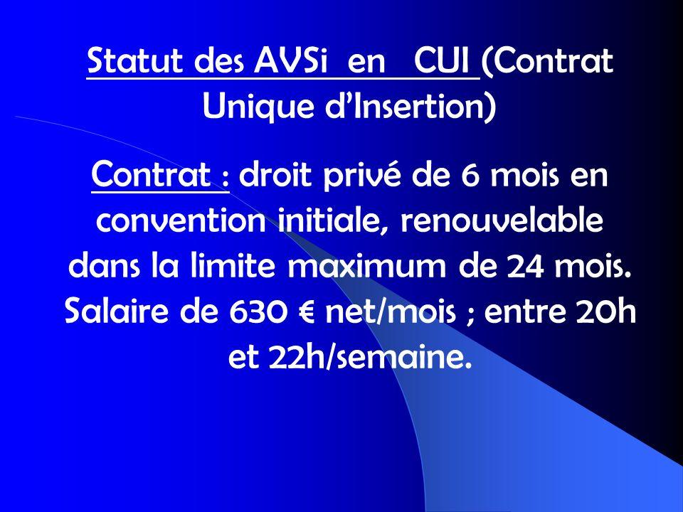 Statut des AVSi en CUI (Contrat Unique dInsertion) Contrat : droit privé de 6 mois en convention initiale, renouvelable dans la limite maximum de 24 m