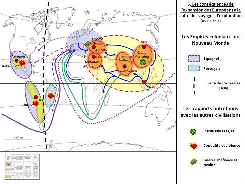 Chine des Ming Royaumes indiens Sultanat Mamelouk Empire Ottoman Incas Aztèques PEKIN CUZCO TENOCHTITLAN ISTANBUL LE CAIRE VIJAYANAGAR 3. Les conséque