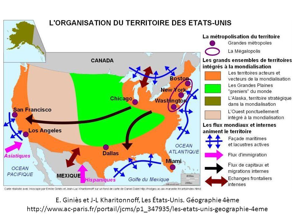 E. Giniès et J-L Kharitonnoff, Les États-Unis. Géographie 4ème http://www.ac-paris.fr/portail/jcms/p1_347935/les-etats-unis-geographie-4eme