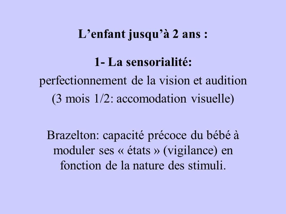 Lenfant jusquà 2 ans : 1- La sensorialité: perfectionnement de la vision et audition (3 mois 1/2: accomodation visuelle) Brazelton: capacité précoce du bébé à moduler ses « états » (vigilance) en fonction de la nature des stimuli.