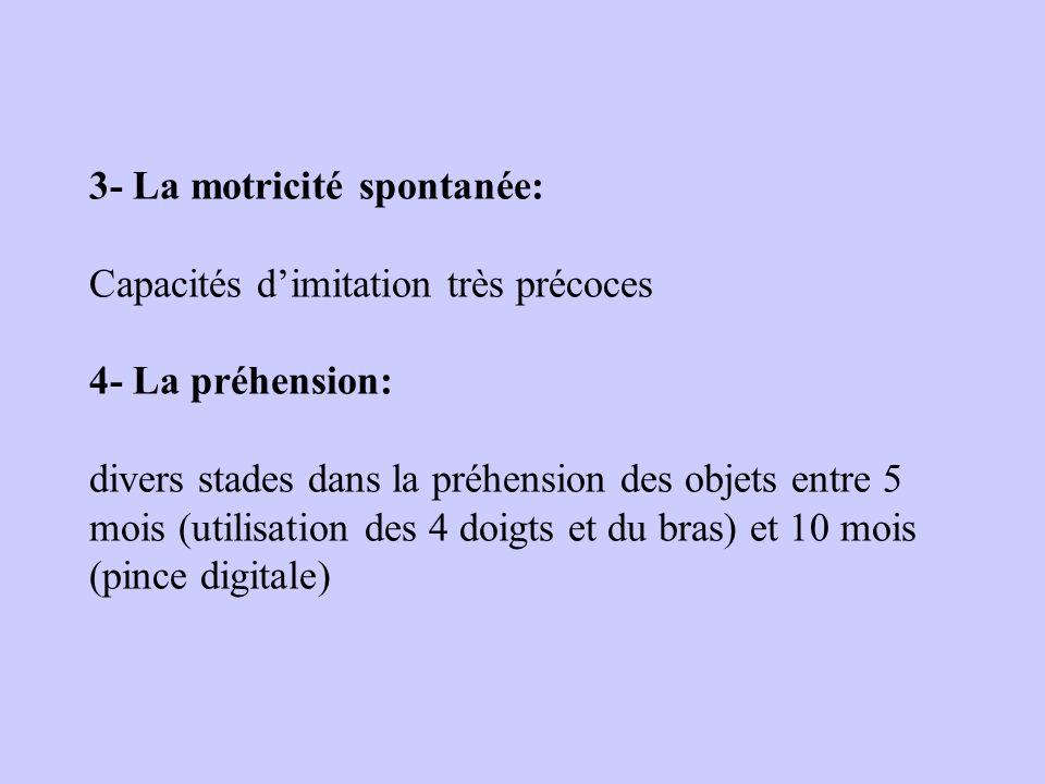 3- La motricité spontanée: Capacités dimitation très précoces 4- La préhension: divers stades dans la préhension des objets entre 5 mois (utilisation des 4 doigts et du bras) et 10 mois (pince digitale)
