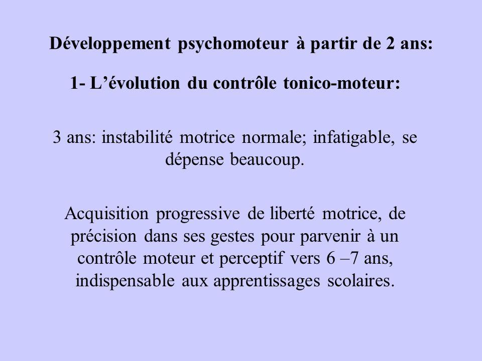 Développement psychomoteur à partir de 2 ans: 1- Lévolution du contrôle tonico-moteur: 3 ans: instabilité motrice normale; infatigable, se dépense bea