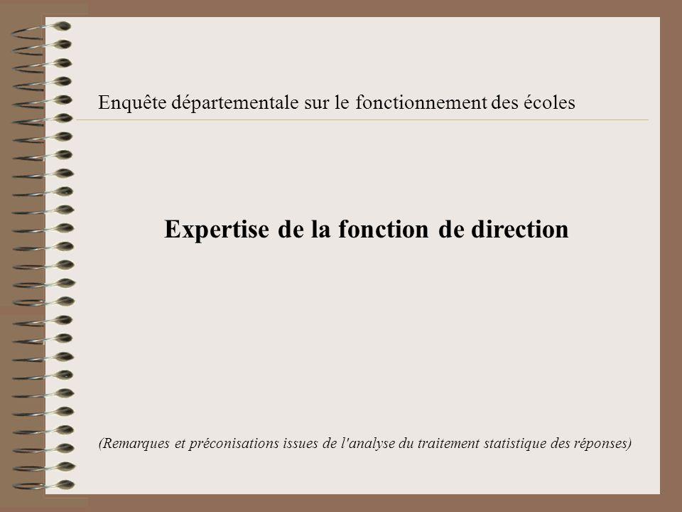 Enquête départementale sur le fonctionnement des écoles Expertise de la fonction de direction (Remarques et préconisations issues de l analyse du traitement statistique des réponses)