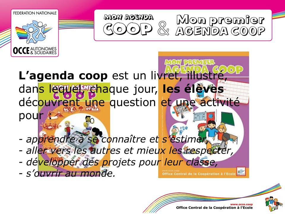 Lagenda coopératif cest : un moyen original pour noter le travail scolaire, un support pour informer les parents, 150 questions pour développer lesprit coopératif, une idée par jour pour apprendre à vivre ensemble,