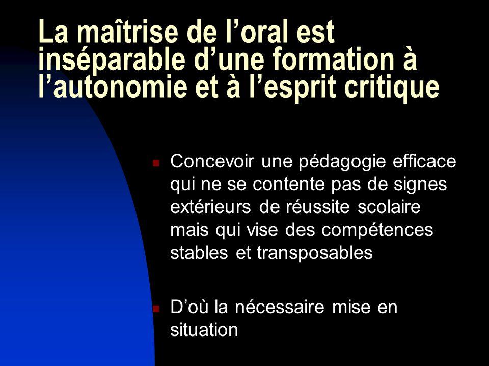 La maîtrise de loral est inséparable dune formation à lautonomie et à lesprit critique Concevoir une pédagogie efficace qui ne se contente pas de sign
