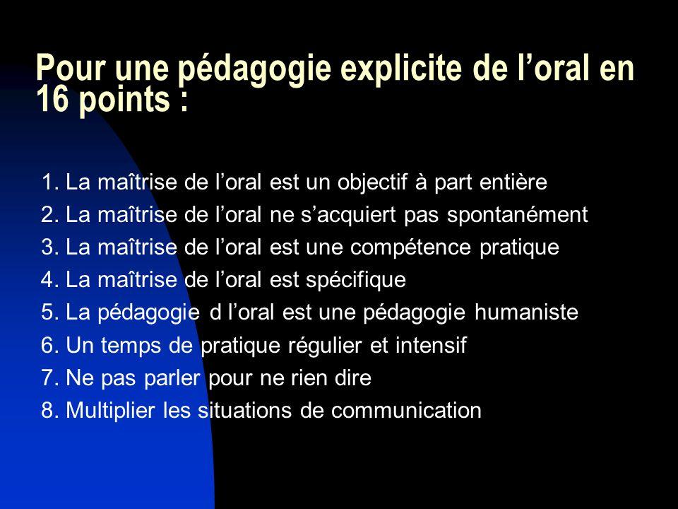 Pour une pédagogie explicite de loral en 16 points : 1. La maîtrise de loral est un objectif à part entière 2. La maîtrise de loral ne sacquiert pas s
