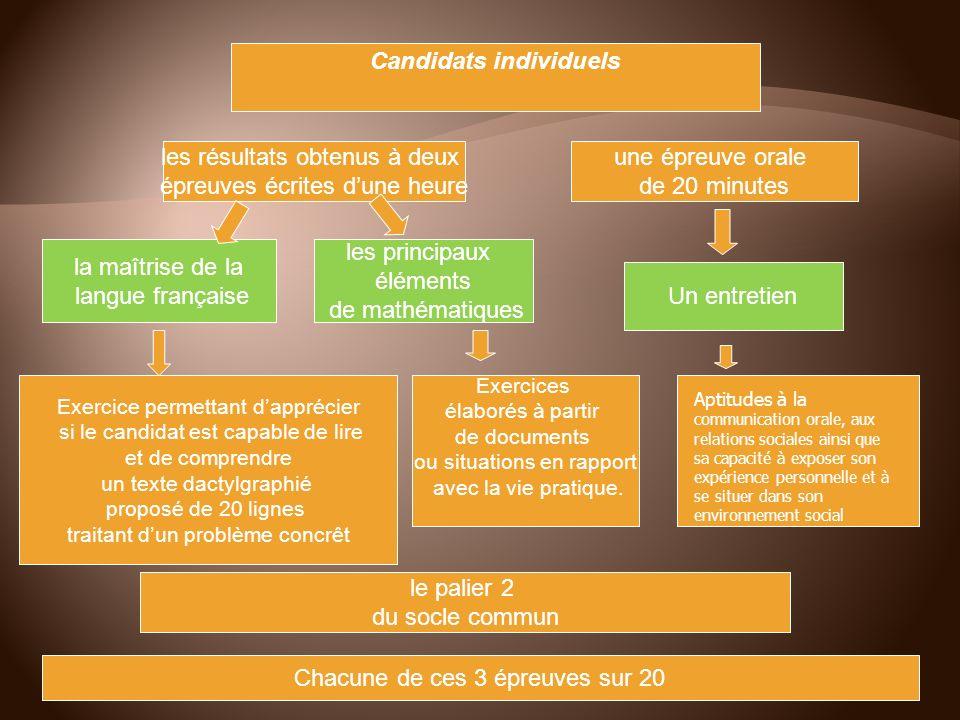 Candidats individuels les résultats obtenus à deux épreuves écrites dune heure une épreuve orale de 20 minutes la maîtrise de la langue française les