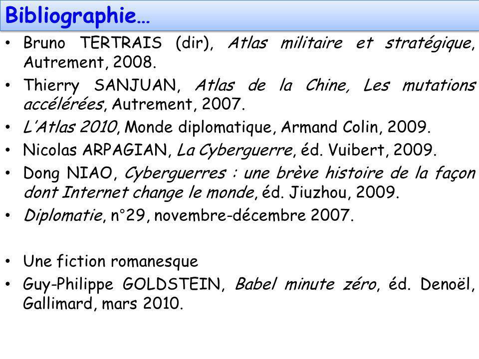 Bibliographie… Bruno TERTRAIS (dir), Atlas militaire et stratégique, Autrement, 2008. Thierry SANJUAN, Atlas de la Chine, Les mutations accélérées, Au