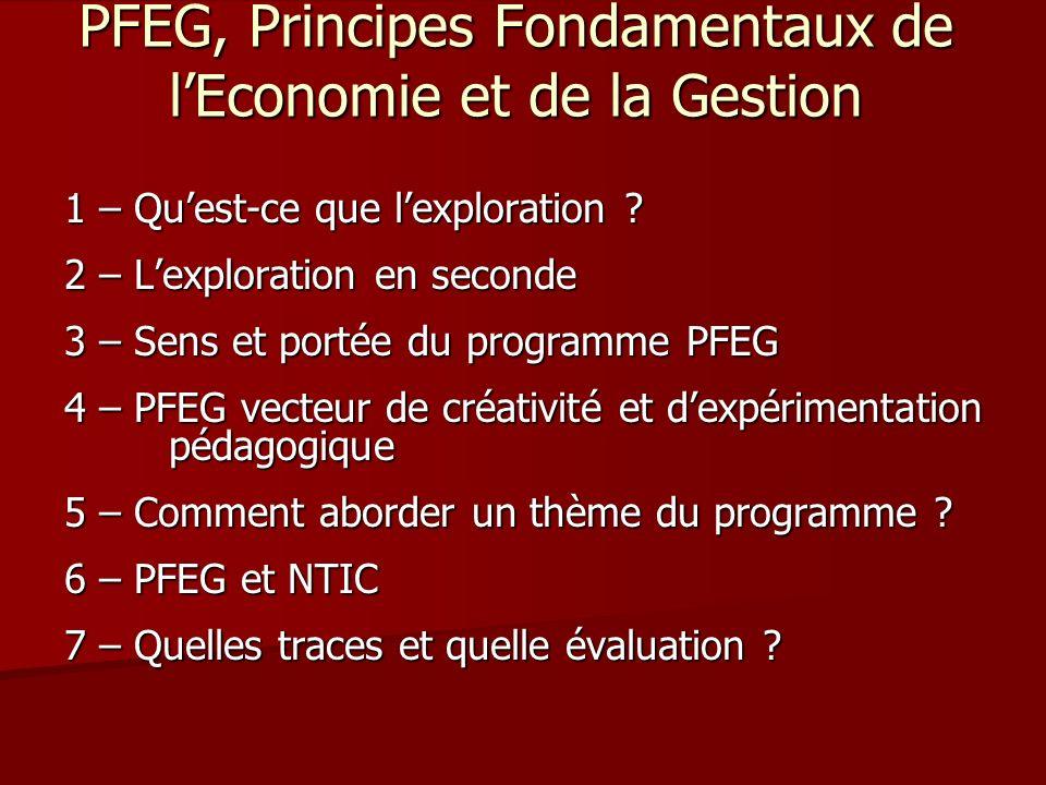 PFEG, Principes Fondamentaux de lEconomie et de la Gestion 1 – Quest-ce que lexploration ? 2 – Lexploration en seconde 3 – Sens et portée du programme