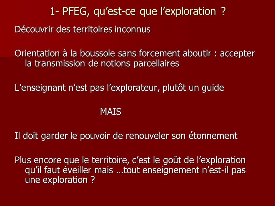 1- PFEG, quest-ce que lexploration ? Découvrir des territoires inconnus Orientation à la boussole sans forcement aboutir : accepter la transmission de