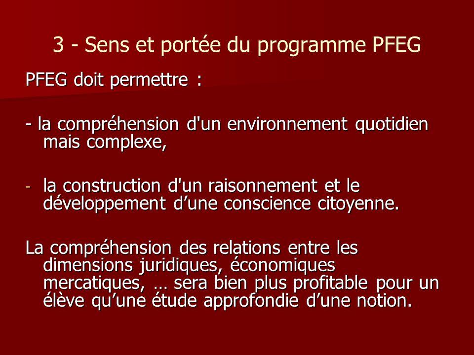 3 - Sens et portée du programme PFEG PFEG doit permettre : - la compréhension d'un environnement quotidien mais complexe, - la construction d'un raiso