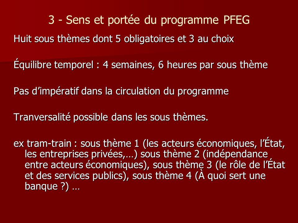 3 - Sens et portée du programme PFEG Huit sous thèmes dont 5 obligatoires et 3 au choix Équilibre temporel : 4 semaines, 6 heures par sous thème Pas d