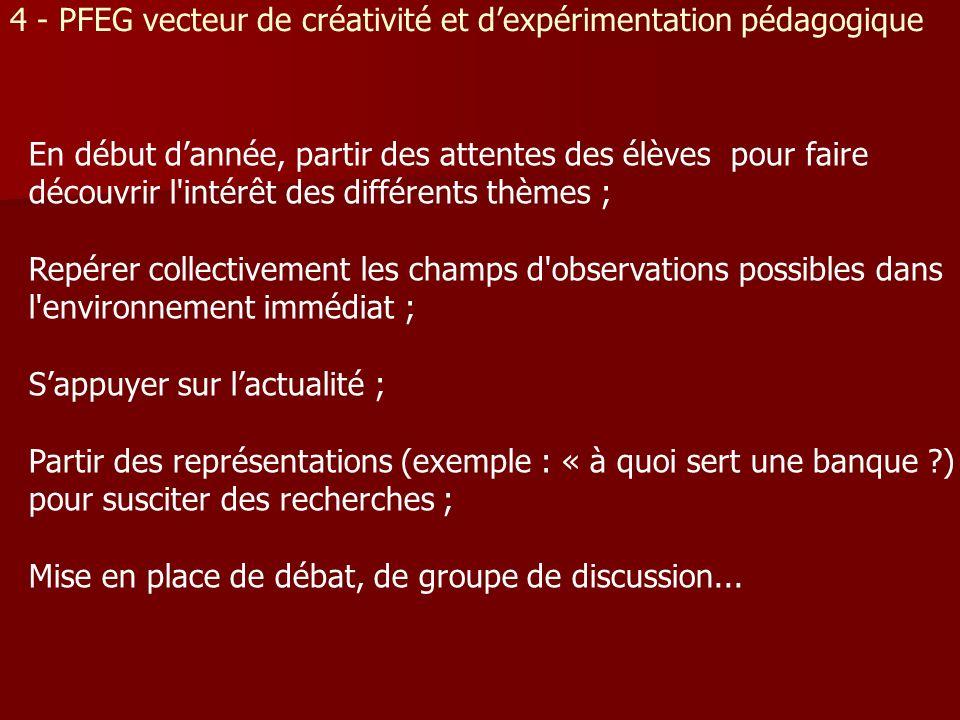 4 - PFEG vecteur de créativité et dexpérimentation pédagogique En début dannée, partir des attentes des élèves pour faire découvrir l'intérêt des diff
