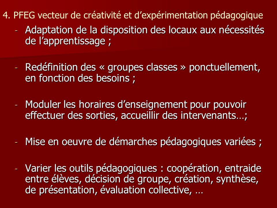 4. PFEG vecteur de créativité et dexpérimentation pédagogique - Adaptation de la disposition des locaux aux nécessités de lapprentissage ; - Redéfinit
