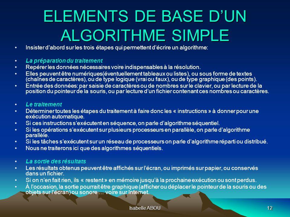 Isabelle ABOU12 ELEMENTS DE BASE DUN ALGORITHME SIMPLE Insister dabord sur les trois étapes qui permettent décrire un algorithme: La préparation du tr