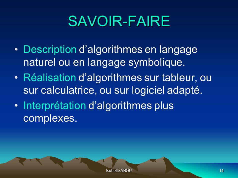 Isabelle ABOU14 SAVOIR-FAIRE Description dalgorithmes en langage naturel ou en langage symbolique. Réalisation dalgorithmes sur tableur, ou sur calcul