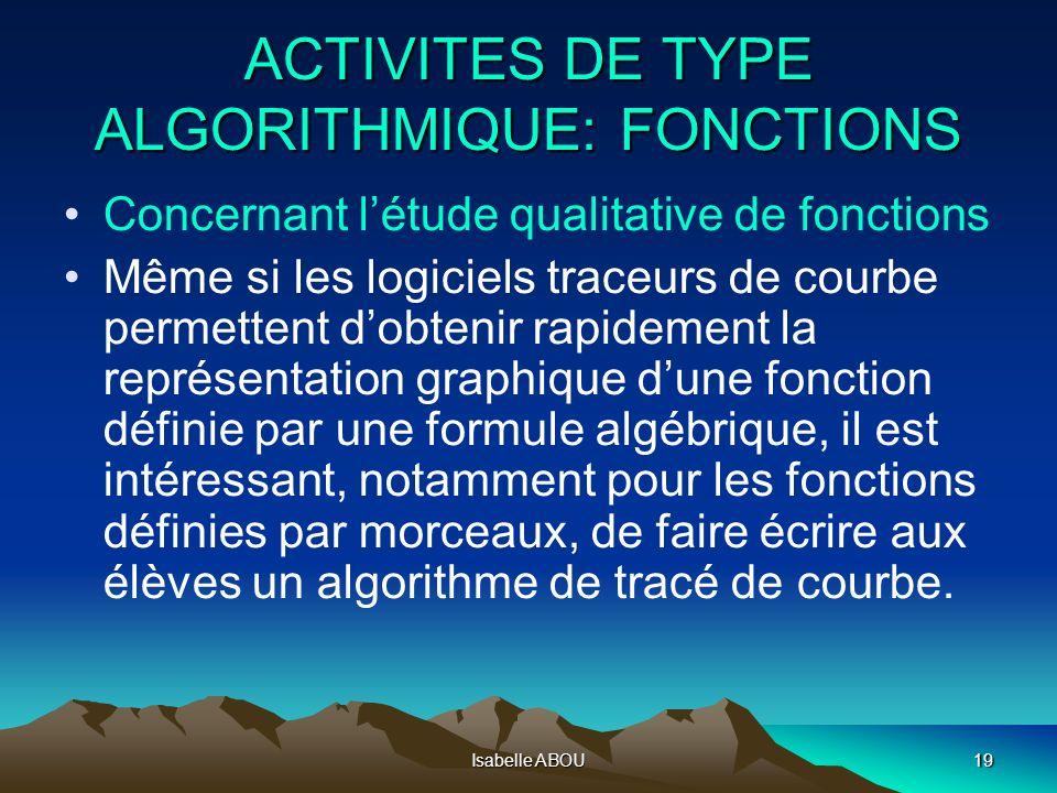Isabelle ABOU19 ACTIVITES DE TYPE ALGORITHMIQUE: FONCTIONS Concernant létude qualitative de fonctions Même si les logiciels traceurs de courbe permett